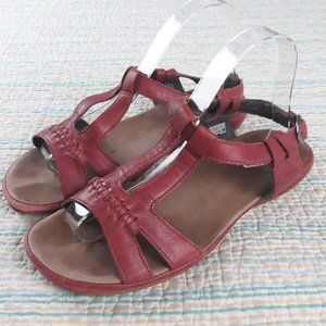 Keen 8 Red Leather Buckle Ankle Strappy Sandals